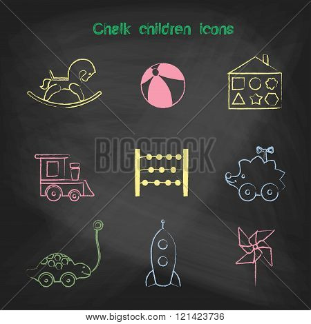 Set of linear icons. Children's toys collection of vector icons. Outline vector rocking horse, ball,