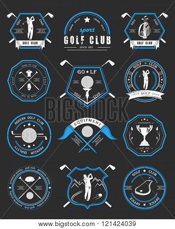 Vector set of golf club logos labels and emblems. Golfer playing vector logo design template. Concept icons organization tournaments golf clubs.