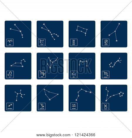 set with zodiac symbols and zodiac constellation