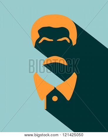 Vector Portrait Of Joseph Stalin. Flat Icon Style