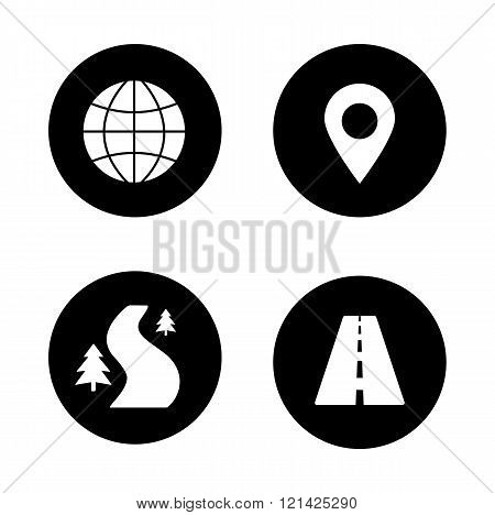 Map navigation black icons set