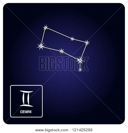 Stock vector icons with Gemini zodiac sign and constellation of Gemini