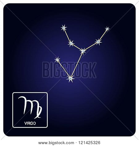 Stock vector icons with Virgo zodiac sign and constellation of Virgo