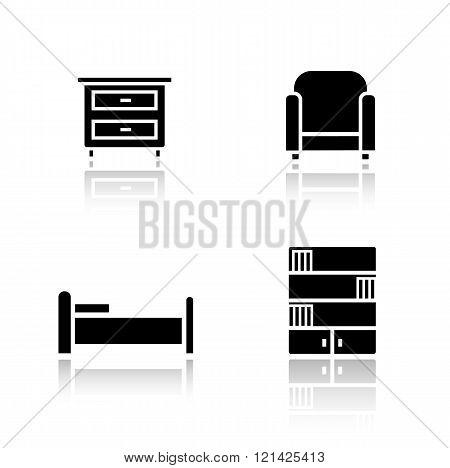 Bedroom furniture drop shadow icons set