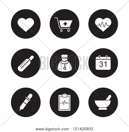 Medical black icons set