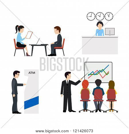 Banking business concept.People in a bank flat vector icons set.
