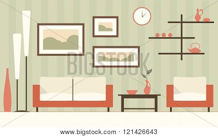 Vector Color Interior Of Cartoon Minimalistic Modern Living Room.