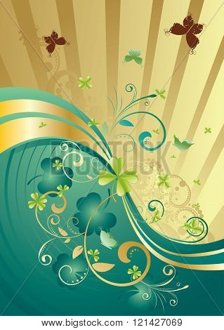 Gold And Green Shamrock Background