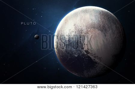 Pluto - High resolution 3D images presents planets of the solar system. This image elements furnishe