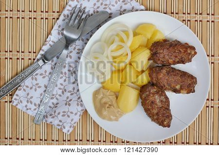Roasted Meatloaf With Potatoes, Onion And Mustard