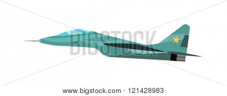 Military plane vector cartoon illustration. Military airplane flying fast.