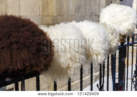 A hat made of wool sheep.Traditional clothing Azerbaijan