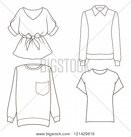 Set of four different tops - sweaters, t shirt, blouse - Flat fashion Sketch template