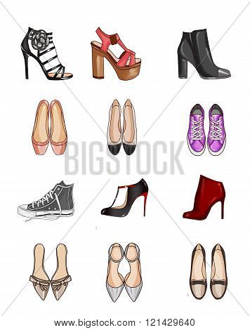 Fashion Illustration - Collection of types of shoes