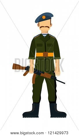 Russia troop armed forces man with weapon illustration.