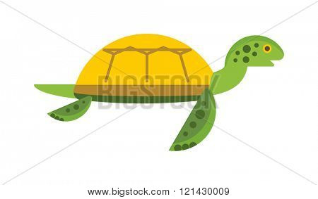 Vector illustration of a cute cartoon turtle. Happy sea turtle cartoon.