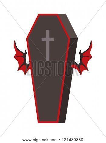 Dracula Coffin vector illustration.