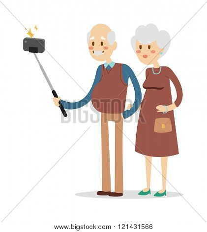 Selfie photo shot grandpa and grandma vector portrait illustration. Old people fun. Selfie shot woman, man, old men, old woman  Togetherness concept old people celebrate. Pensioners happy life concept