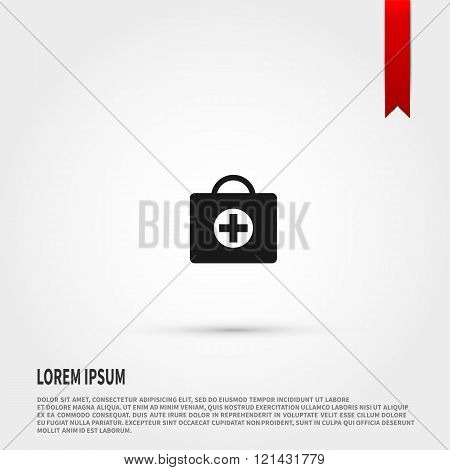 First aid kit icon vector. First aid kit icon JPEG. Vector illustration design element. Flat style design icon.