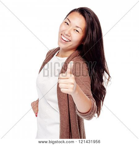 Young asian woman wearing brown cardigan showing thumb up hand gesture and smiling perfect healthy smile isolated on white background - success concept