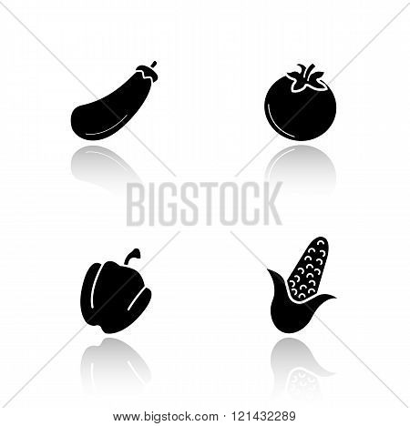 Vegetables drop shadow icons set