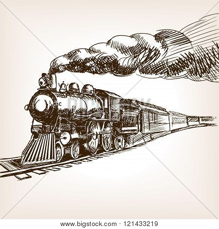 Steam locomotive hand drawn sketch vector