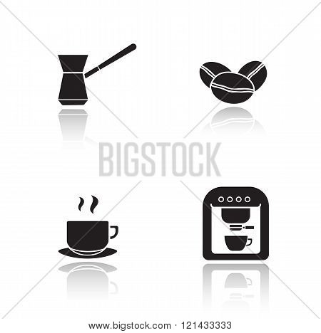 Coffee appliances drop shadow icons set