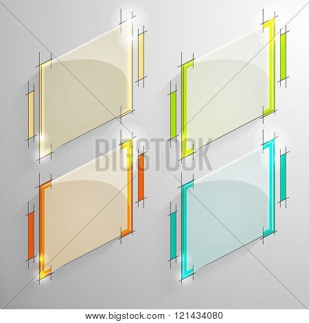Set of vector colorful lozenge glossy banner