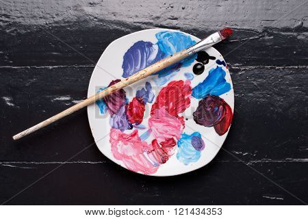 Close Up Brush And Palette On The Floor