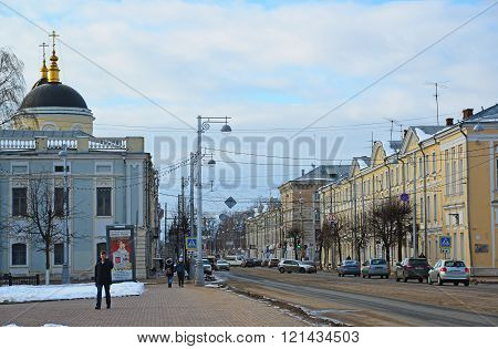Tver, Russia - February 27. 2016.  Sovetskaya Street, one of the central streets