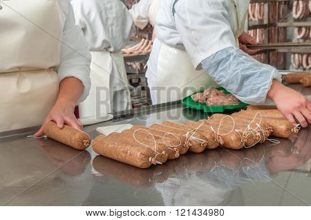Meat plant traditional sausage during the preparation