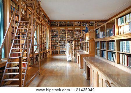 PLETERJE, SLOVENIA - NOVEMBER 06: The library in the in the Carthusian monastery in Pleterje, Slovenia on November 06, 2015.