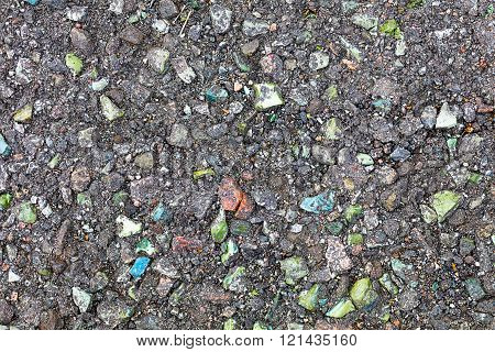 Asphalt Inclusions Of Colored Stones