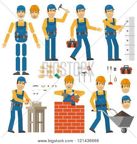 Worker in various poses