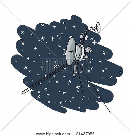 Vector illustration with space satellite in deep space.
