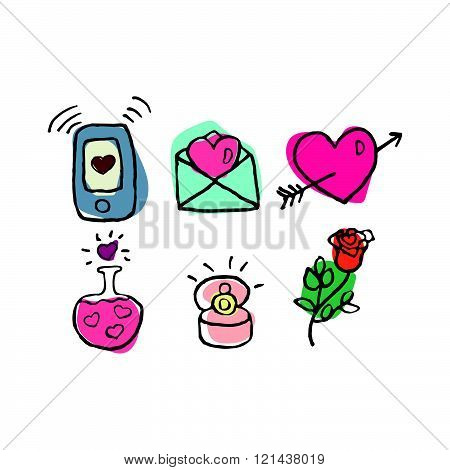 Valentine's Day Set Of Six Hand Drawn Cute Icons