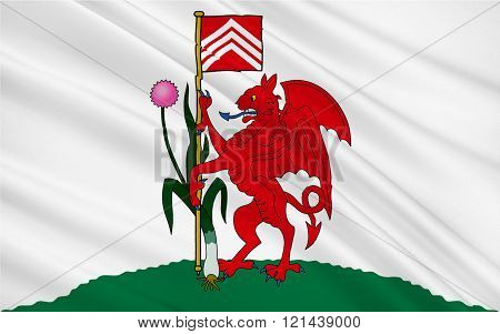 Flag Of Cardiff Is The Capital And Largest City In Wales Of The United Kingdom Of Great Britain