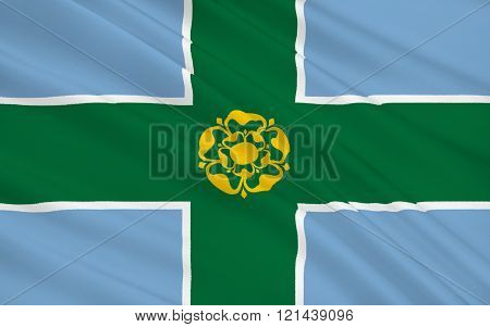 Flag Of Derbyshire Is A County, England