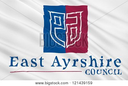 Flag Of East Ayrshire Council Of Scotland, United Kingdom Of Great Britain