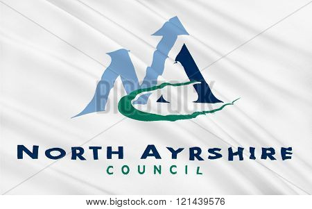 Flag Of North Ayrshire Council Of Scotland, United Kingdom Of Great Britain