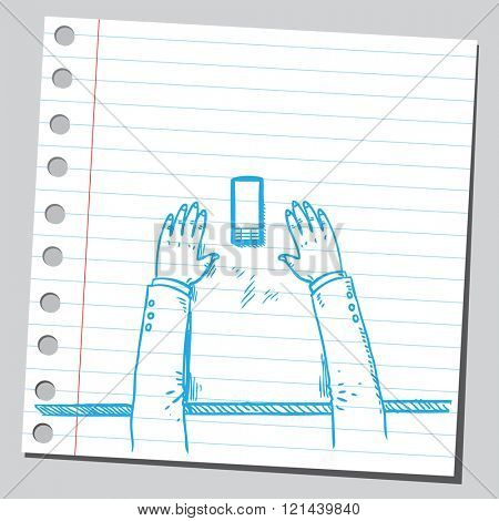 Hands on table with cell phone
