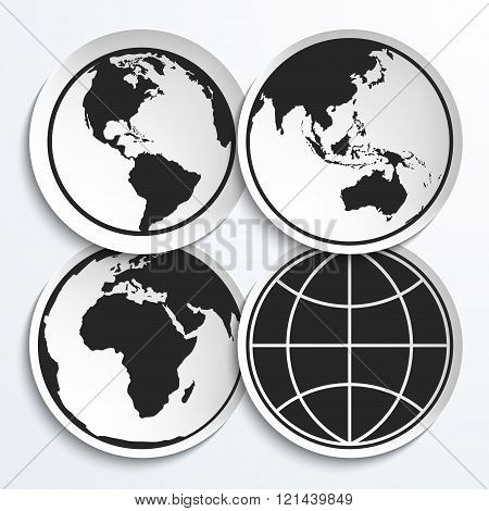 Earth Globe Icons On White Plates.