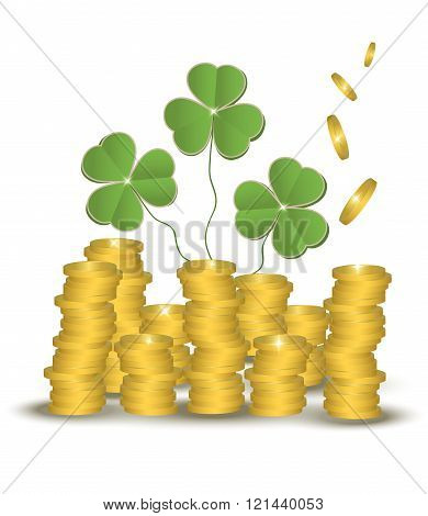 Money coin shamrock saving , St. Patrick day vector