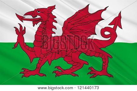 Flag Of Wales Is A Country That Is Part Of The United Kingdom Of Great Britain