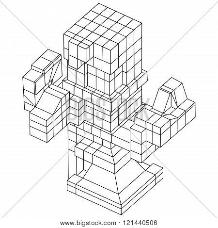 Wireframe Mesh Cubes Element.