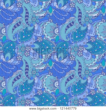 Seamless pattern of abstract flowers and paisley elements in Indian mehendi style.