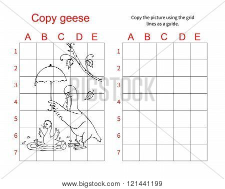 Grid Copy Puzzle - The Picture Of Cute Geese. Educational Game For Children. Vector Illustration.