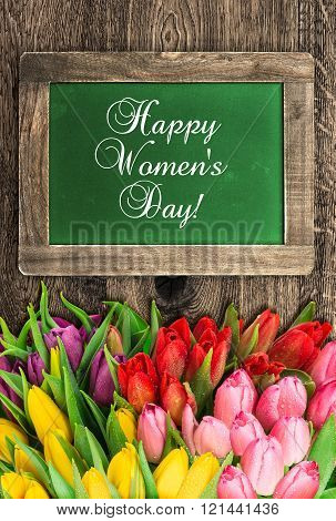 Chalkboard With Tulip Flowers Happy Womens Day