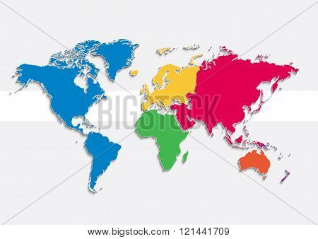 world map continents colors raster - Individual separate continents - Europe, Asia, Africa,