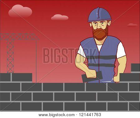 builder lays bricks